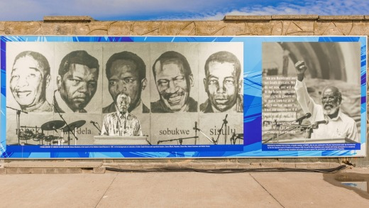 Mural on Robben Island Prison wall.