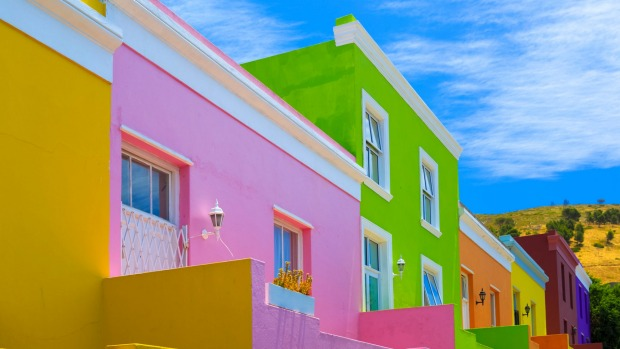 Brightly-coloured houses in Bo-Kaap neighbourhood, Cape Town.