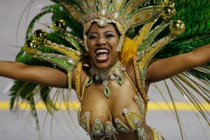 A dancer from the Tom Maior samba school performs during a carnival parade.