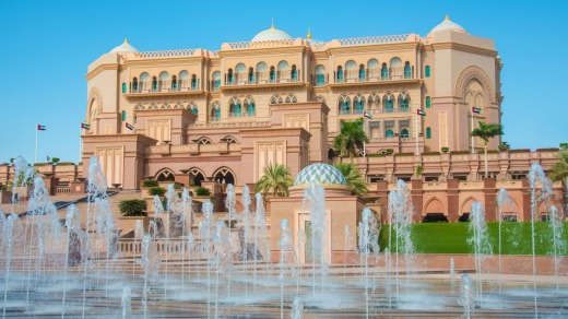 Fountains in front of the Emirates Palace in Abu Dhabi.