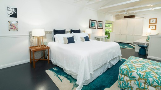 A bedroom at Blue Peters Beach House.