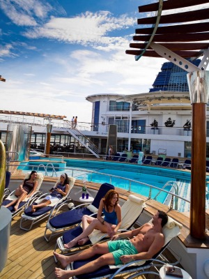 The pool deck is a great place to unwind after all the activities.