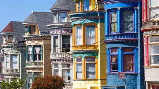 Colourfully painted Victorian houses in the Haight-Ashbury district of San Francisco.