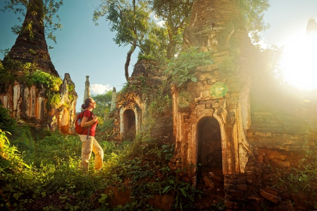 The ancient Buddhist temple complex In Dein, Inle Lake, Mayanmar.