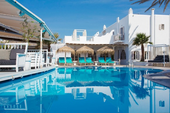 Beachfront luxury: Mykonos Palace Beach Hotel.