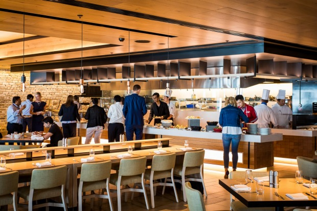 The lunch buffet at The Sailmaker restaurant at Hyatt Regency Hotel in Darling Harbour.