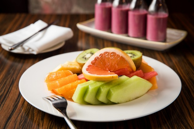 Seasonal fruit platter and breakfast smoothies at The Sailmaker restaurant at Hyatt Regency Hotel in Darling Harbour.