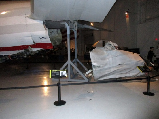 The crumpled bottom of the jet, which became detached when the plane made initial contact with the Hudson River, is ...