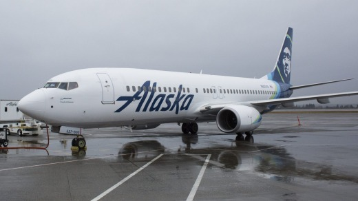 An Alaska Airlines jet on the tarmac at Seattle-Tacoma International Airport in Seattle, Washington.