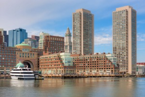 The waterfront skyline including the Boston Harbor Hotel at Rowes Wharf.