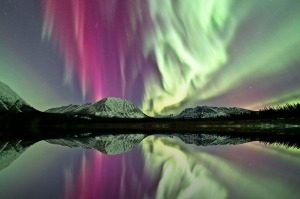 The aurora borealis, or northern lights.