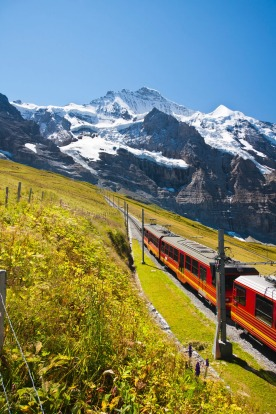 The famous Jungfraubahn in front of the Gspaltenhorn in the Swiss Alps.