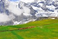 The train from Jungfraujoch station on the move to Kleine Scheidegg.