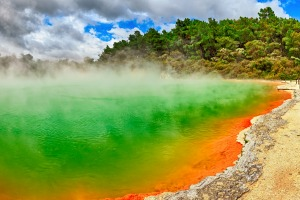 Enjoy the naturally brilliant colours of  thermal pools such as the Champagne Pool at Wai-O-Tapu Thermal Wonderland, Rotorua.
