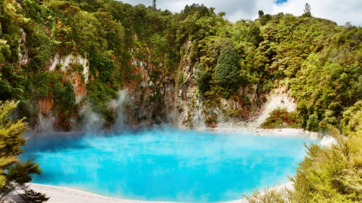 Inferno Crater Lake in Waimangu volcanic valley.