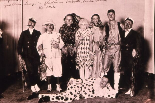 Guests at a fancy dress ball at the Raffles Hotel Sinagpore, circa 1930s.