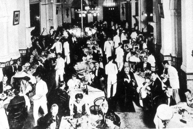 The lobby was once the main dining at the Raffles. supplied by the Raffles.