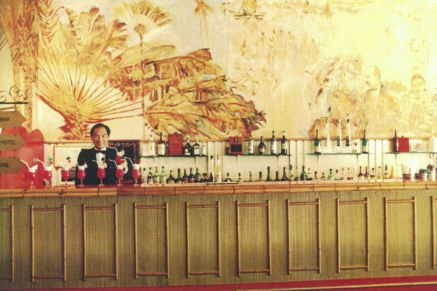 Raffles Hotel Singapore Long Bar circa late 1970s. supplied by the Raffles.