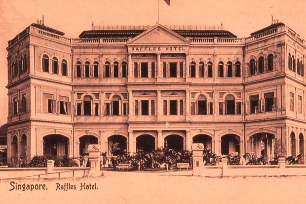 Raffles Hotel Singapore in the early 1900s.