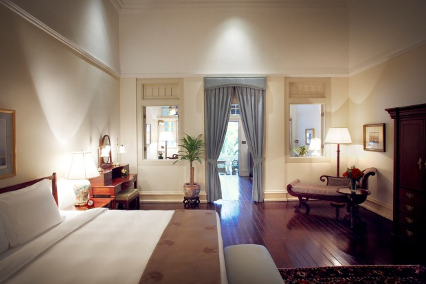 A Palm Court suite at the Raffles Hotel Singapore.