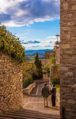 A characteristic place in historic centre of the medieval town of Assisi, with its Catholic sanctuary and the ancient ...
