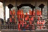The traditional red candles in the monastery of China's Wudang Mountains.
