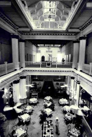 Historic image of the grand lobby, Raffles Hotel Singapore.
