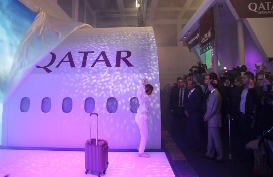 The unveiling of he new Qatar Airways QSuite in Berlin.