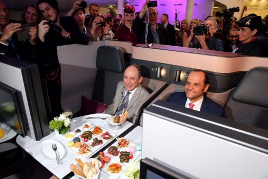 Qatar Airways chief executive, Mr. Akbar Al Baker (left) at the unveiling of he new QSuite in Berlin.