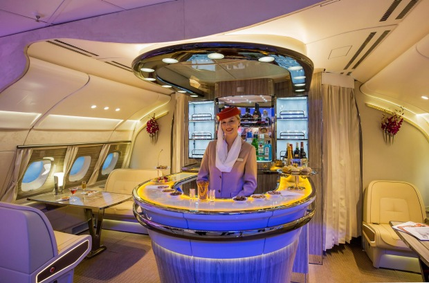 Emirates A380's new on-board bar.