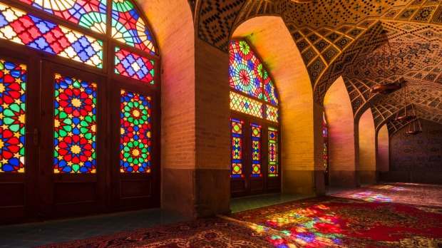 Interior windows of Nasir al-Mulk, a traditional mosque in Shiraz, Iran. It was built during the Qajar era (1888).