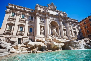 The Famous Trevi Fountain In Rome, Italy.