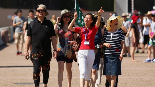 Chinese tourists, particularly those who move in large groups, often do travel in a different way to what we're used to.
