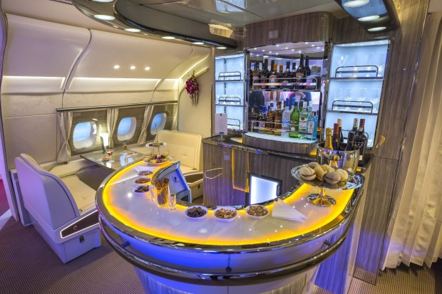 Food and a selection of beverages are laid out on the new bar area for the Airbus A380 aircraft during the unveiling at ...