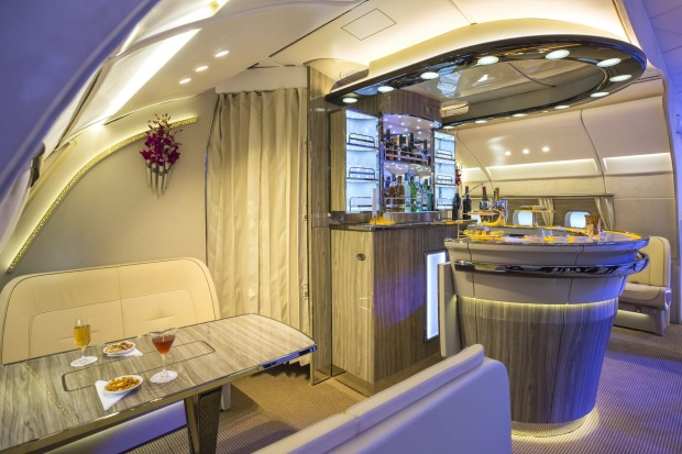 The first and business class passenger bar on board an Emirates A380.