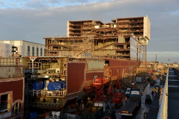 March 2017 - Symphony of the Seas, Royal Caribbean's newest Oasis-class ship, under construction at the STX shipyard in ...