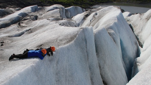 You need to watch your step on the glacier hike tour.