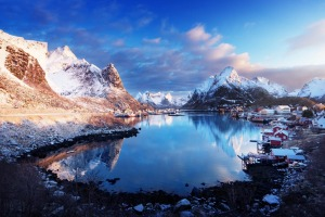 Snow in Reine Village, Lofoten Islands, Norway.