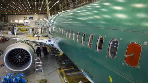 A Boeing 737 MAX 9 on the production floor at the company's manufacturing facility in Renton in the US.