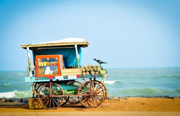 Fruit cart on the beach, Tamil Nadu and Kerala.