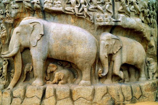Arjuna's Penance (or Descent of the Ganges) bas-relief a famous stone carving depicting craftsmanship of ancient Indians ...