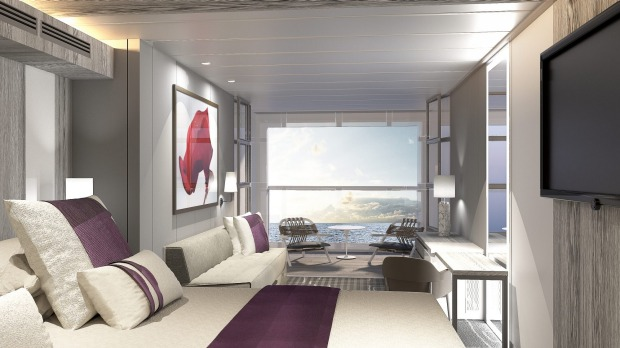 Edge Stateroom with Infinite Verandah on Celebrity Cruises' new Celebrity Edge ship.