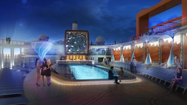 The design for the pool deck on Celebrity Cruises' new Celebrity Edge ship.
