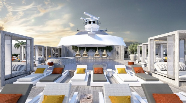 The sundeck on Celebrity Cruises' new Celebrity Edge ship.
