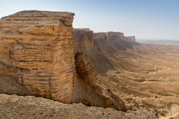 EDGE OF THE WORLD, SAUDI ARABIA: About 90 kilometres north-east of Riyadh, Saudi Arabia's entire limestone Tuwaiq ...
