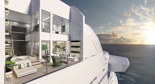 A villa suite on board Celebrity Cruises's new Celebrity Edge ship. The six double-storey Edge villas are glass boxes ...