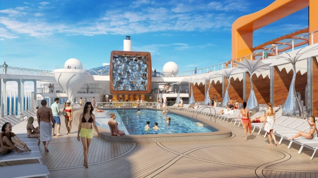 The pool deck on board Celebrity Cruises's new Celebrity Edge ship.