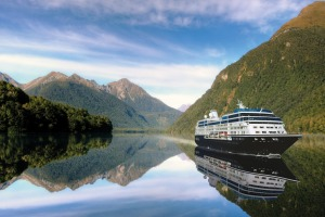 You can drink in the New Zealand scenery from aboard the Azamara.