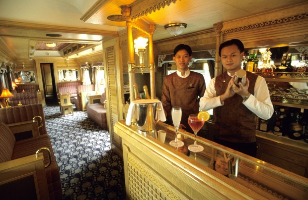 The bar on board the Eastern and Oriental Express train.