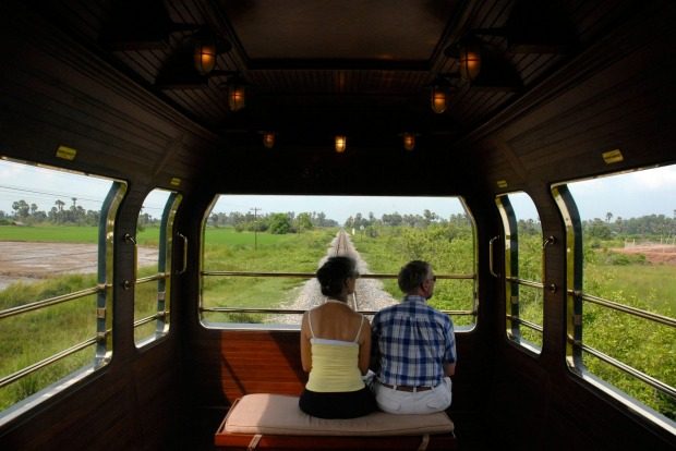 Passengers enjoy the views.